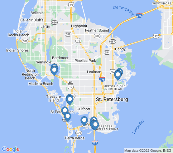 map of St. Petersburg fishing charters