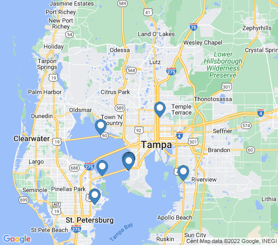 map of Tampa fishing charters