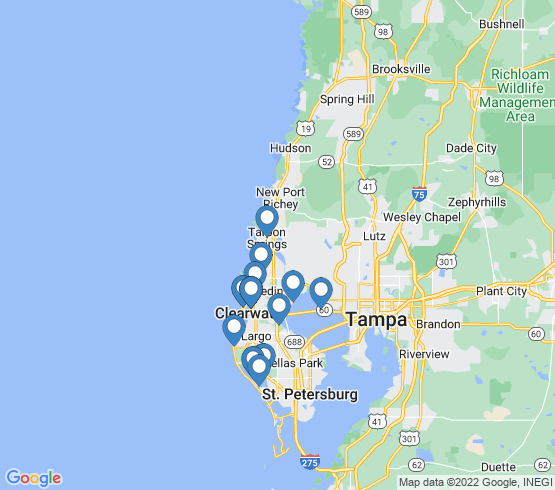 map of Clearwater fishing charters