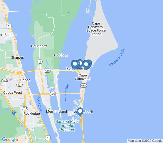 map of Cape Canaveral fishing charters