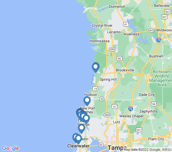 map of Port Richey fishing charters