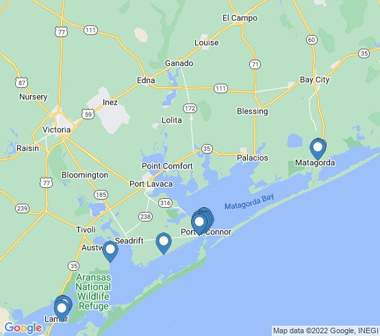 map of Port O'Connor fishing charters