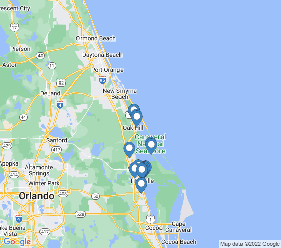 map of Mims fishing charters
