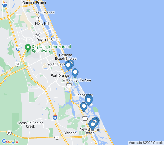map of Ponce Inlet fishing charters