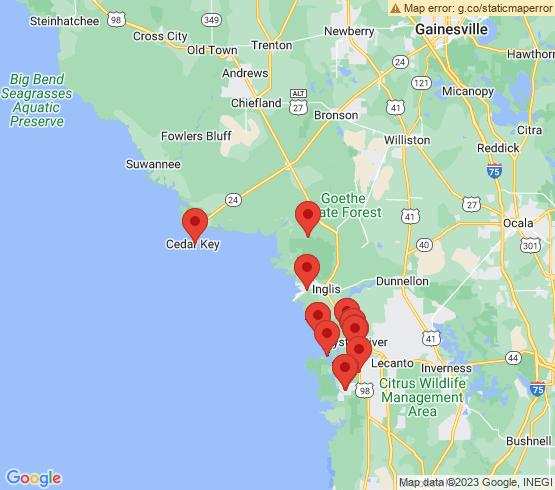 map of Cedar Key/ Waccasassa River fishing charters