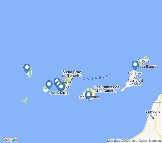 map of Canarias fishing charters