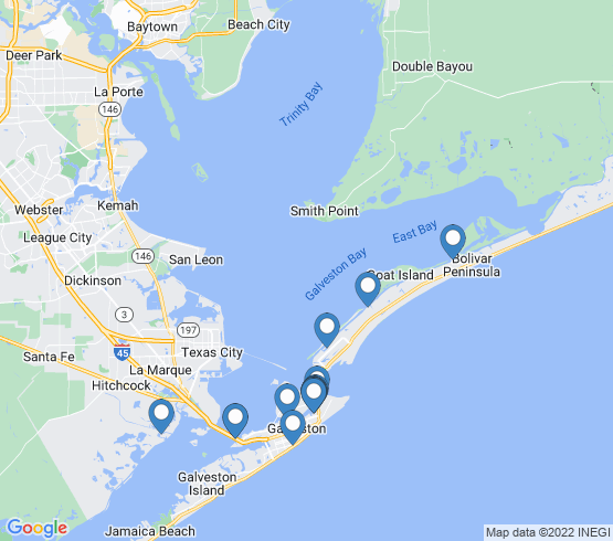 map of Crystal Beach fishing charters