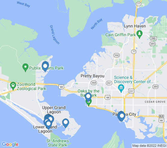 map of Panama City Beach fishing charters