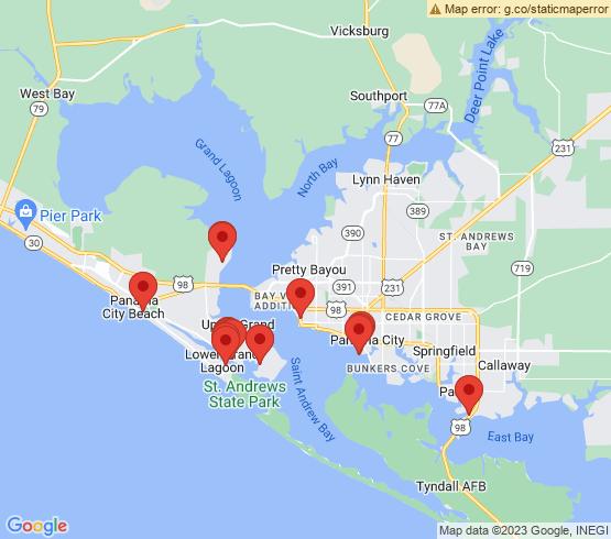 map of Panama City Beach fishing charters