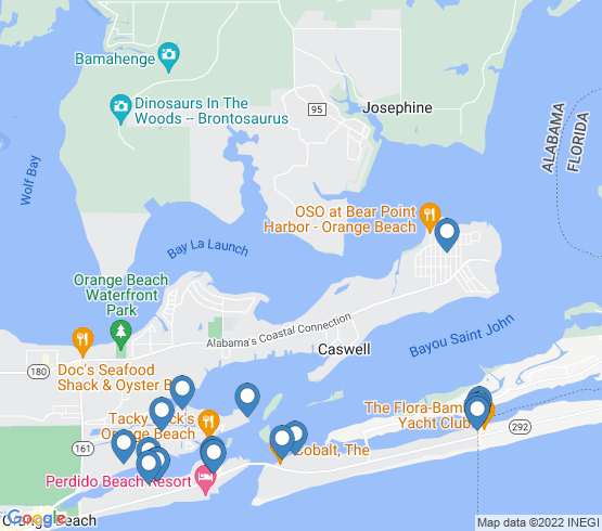 map of Orange Beach fishing charters