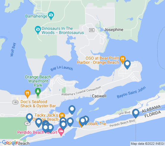 map of Orange Beach fishing charters
