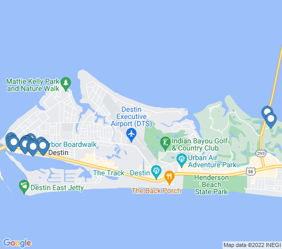 map of Destin fishing charters