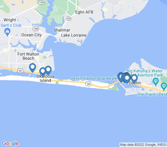 map of Fort Walton Beach fishing charters