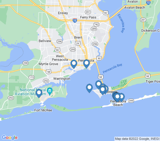 map of Pensacola Beach fishing charters