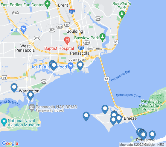 map of Pensacola Beach fishing charters