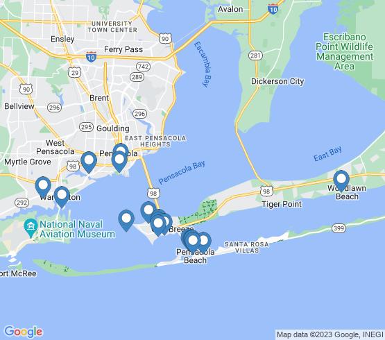 map of Gulf Breeze fishing charters