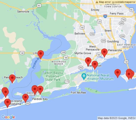 map of Perdido Key fishing charters