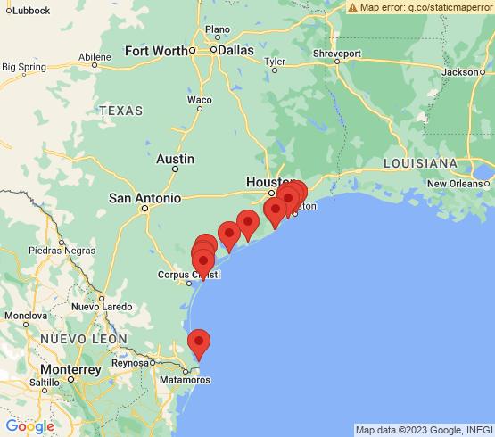 map of Texas fishing charters