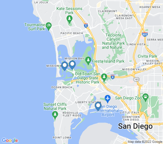 map of San Diego fishing charters