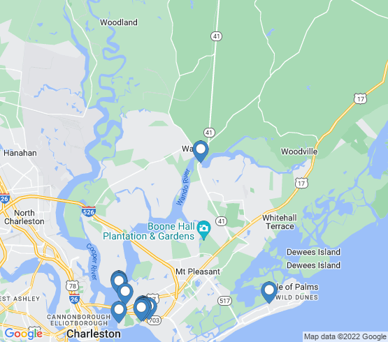 map of Mount Pleasant fishing charters