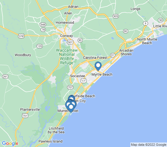 map of Murrells Inlet fishing charters