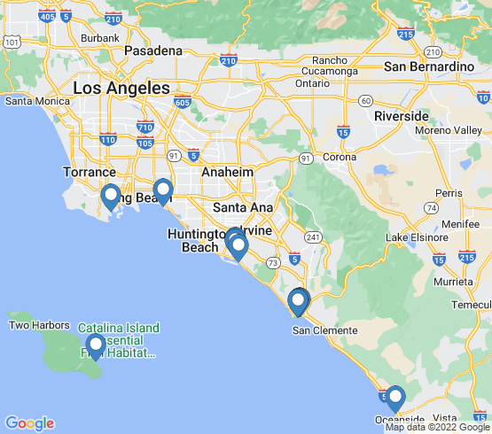map of Dana Point fishing charters