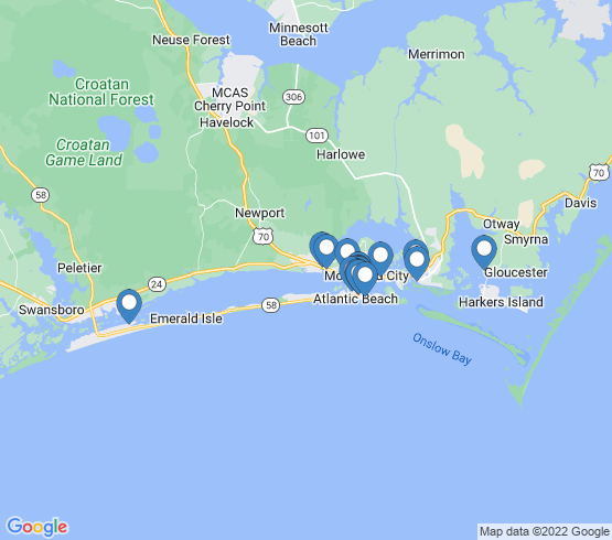 map of Atlantic Beach fishing charters