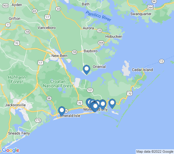 map of Beaufort fishing charters