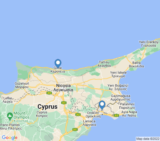 map of Larnaca fishing charters