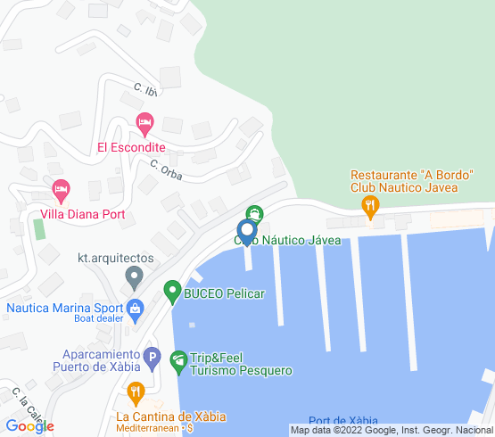 map of Xàbia fishing charters