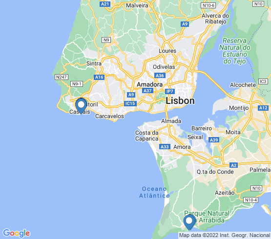 map of Cascais fishing charters