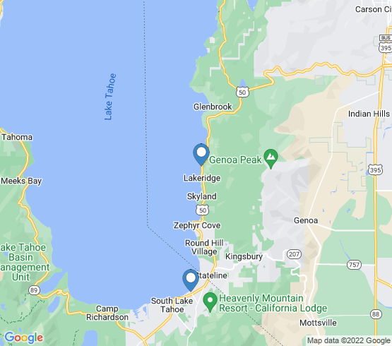 map of South Lake Tahoe fishing charters