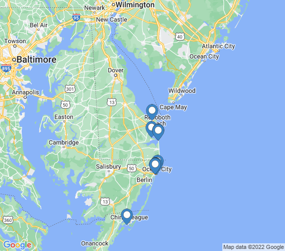 map of West Ocean City fishing charters