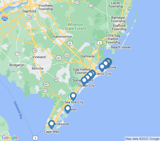 map of Ocean City fishing charters
