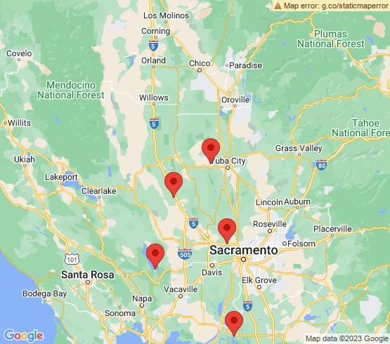 map of Sacramento fishing charters