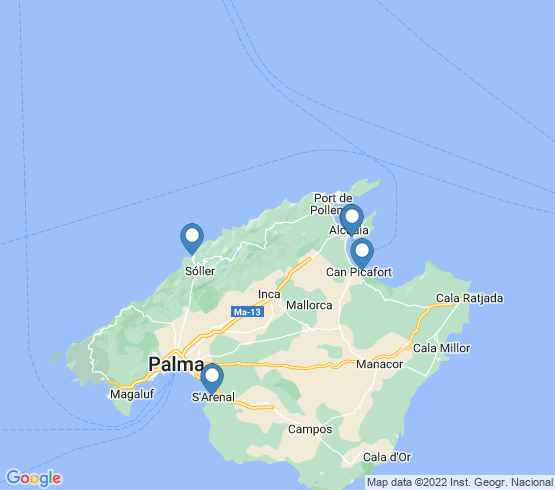 map of Islas Baleares fishing charters