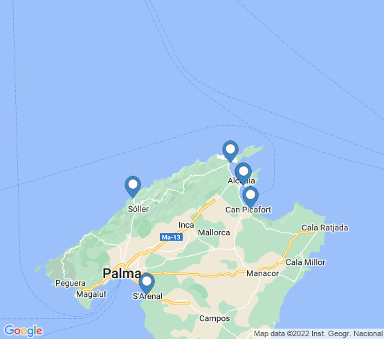 map of Alcudia fishing charters