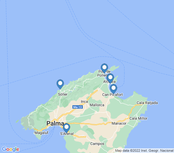 map of Islas Baleares fishing charters