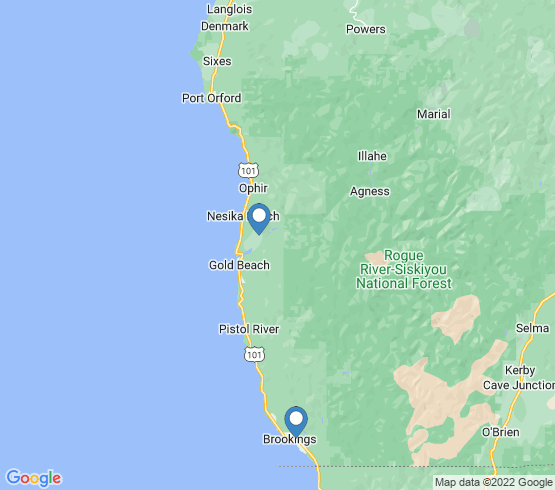 map of Gold Beach fishing charters