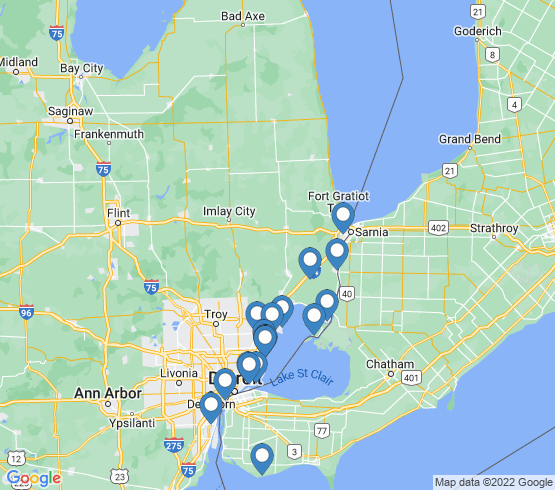 map of Lake St. Clair fishing charters