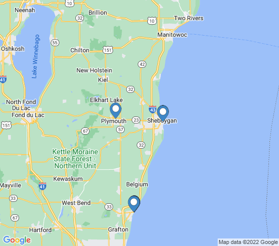 map of Sheboygan fishing charters