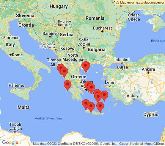 map of Greece fishing charters