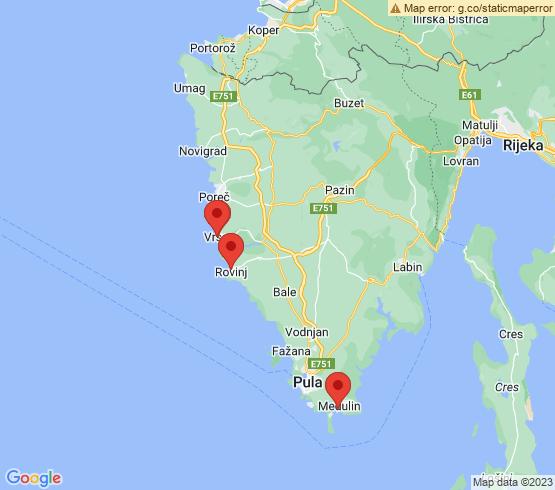map of Medulin fishing charters