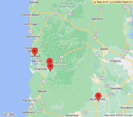 map of Tillamook fishing charters