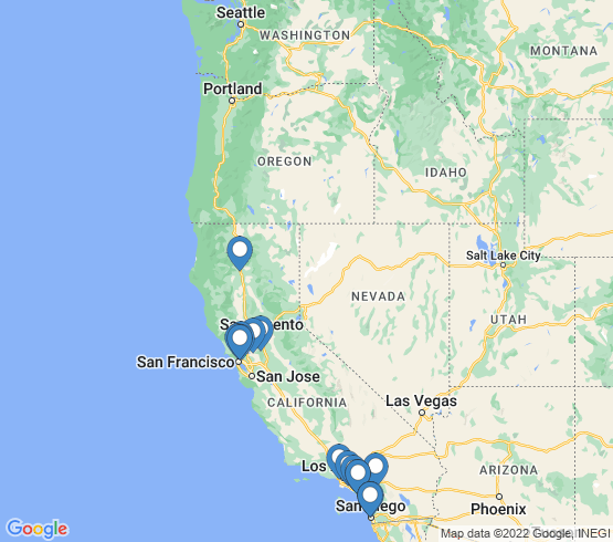 map of California fishing charters