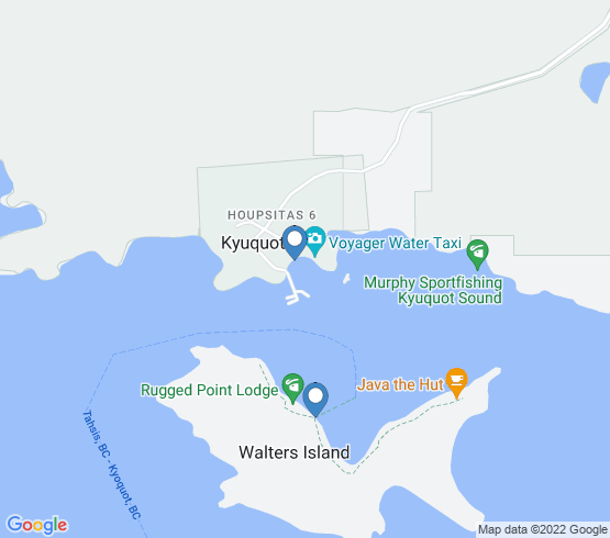 map of Kyuquot fishing charters