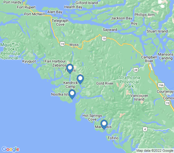 map of Nootka Sound fishing charters