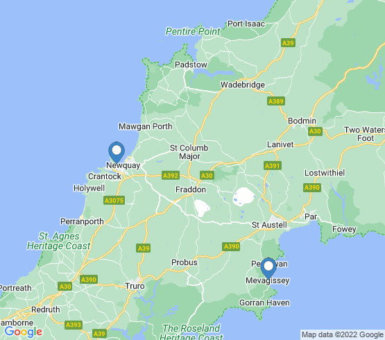 map of Newquay fishing charters