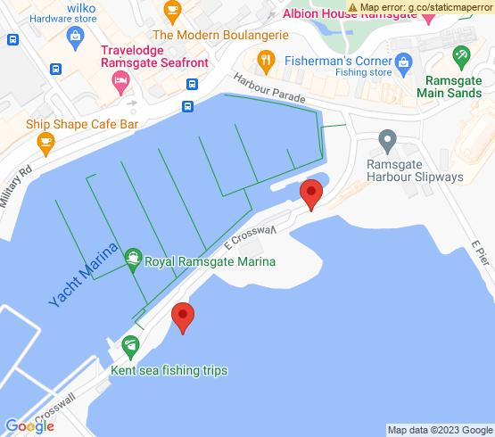 map of Ramsgate fishing charters