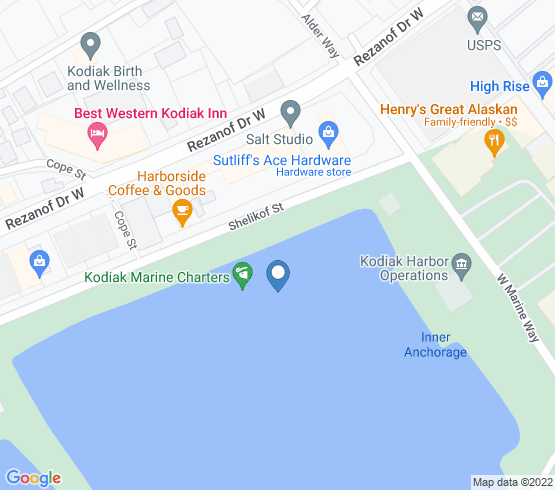 map of Kodiak fishing charters
